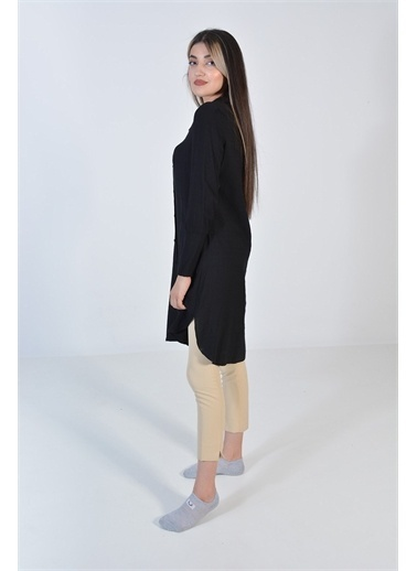 Zeren Kadın Siyah Yırtmaçlı Düğme Detay Tunik Siyah